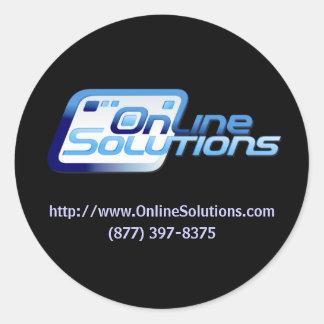 Etiqueta em linha do produto das soluções adesivos redondos