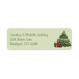 Etiqueta Endereço bonito do feriado da árvore e dos