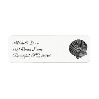 Etiqueta Endereço branco do preto da praia do Seashell do