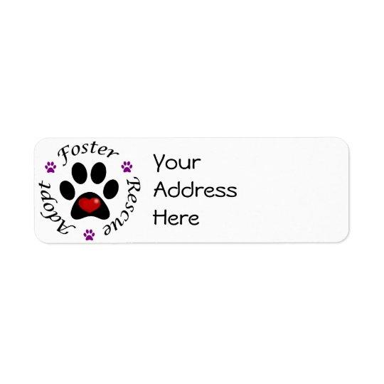Etiqueta Endereço De Retorno Etiquetas de endereço animais do salvamento