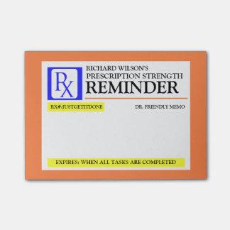 Etiqueta engraçada da prescrição bloco de notas