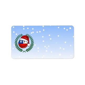 Etiqueta Estilo do Natal do smiley da bandeira do Chile