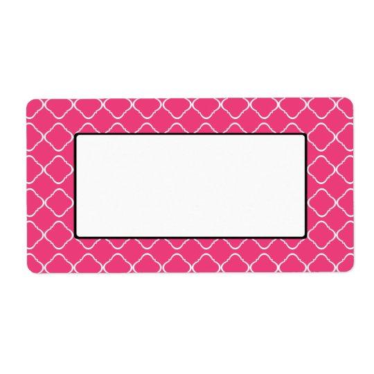 Etiqueta Etiqueta/Tag cor-de-rosa brilhantes da treliça