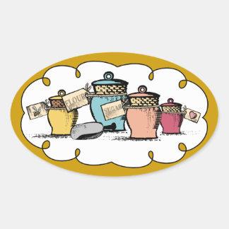 Etiqueta feita sob encomenda da comida do presente adesivos ovais
