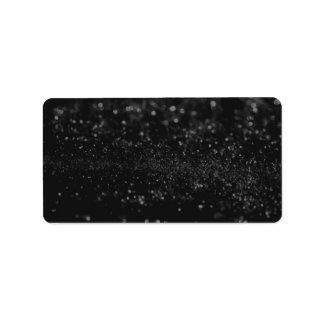Etiqueta feita sob encomenda - Glit preto Etiqueta De Endereço