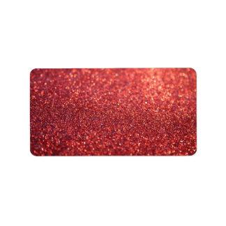 Etiqueta feita sob encomenda - Glit vermelho Etiqueta De Endereço
