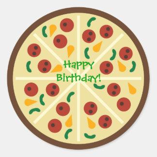 Etiqueta feliz da festa de aniversário da pizza do adesivo
