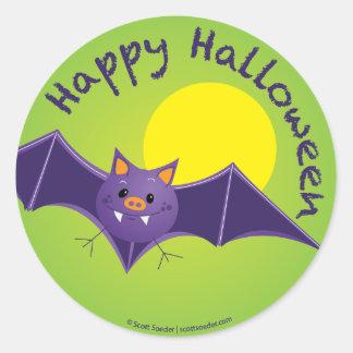 Etiqueta feliz do bastão do Dia das Bruxas Adesivos Em Formato Redondos