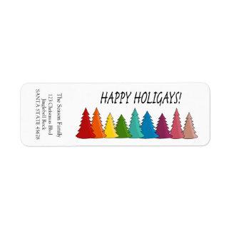 Etiqueta feliz do feriado das árvores do arco-íris