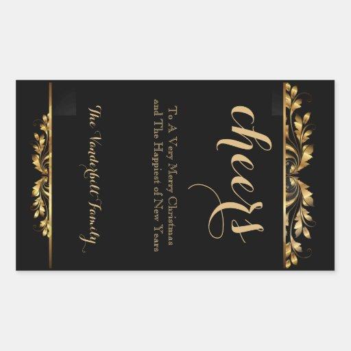 Etiqueta filigrana da garrafa de vinho do Natal do Adesivo Retangular