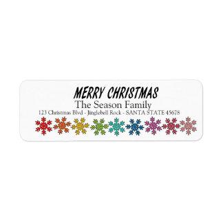 Etiqueta Flocos de neve do arco-íris do Feliz Natal