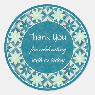 Etiqueta floral decorativa dos azulejos de água-ma adesivo em formato redondo