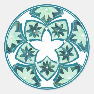 Etiqueta floral decorativa dos azulejos de adesivo redondo