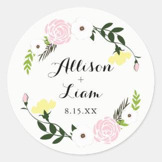 Etiqueta floral do casamento do jardim adesivo