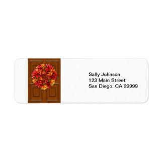 Etiqueta Grinalda do pimentão na porta de madeira