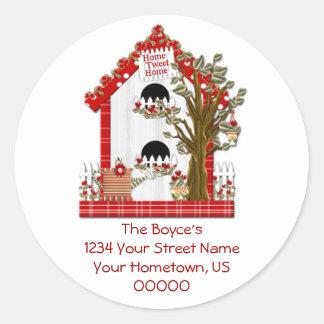 Etiqueta Home do endereço domiciliário do Tweet Adesivos Em Formato Redondos