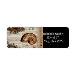 Etiqueta impressão botânico do seashell litoral do vintage