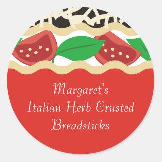 Etiqueta italiana do Tag do presente da comida das Adesivo Redondo