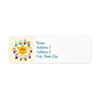 Etiqueta judaica dos miúdos da estrela do feriado etiqueta endereço de retorno