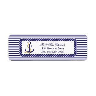 Etiqueta Listras náuticas elegantes do marinho do casamento