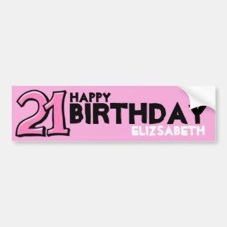 Etiqueta longa do aniversário cor-de-rosa parvo do adesivo para carro