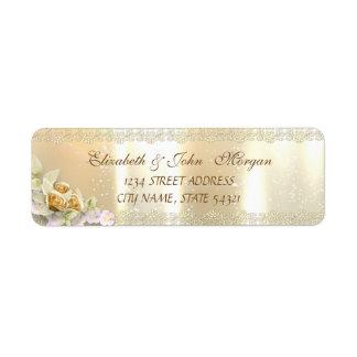 Etiqueta Luxo chique elegante, ouro do falso, laço, flores