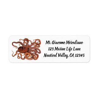 Etiqueta Macropus do polvo do vintage, animais aquáticos