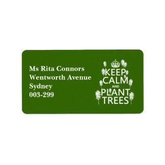 Etiqueta Mantenha a calma e plante árvores (todas as cores)