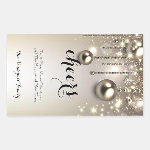 Etiqueta metálica da garrafa de vinho do Natal dos Adesivos Retangular