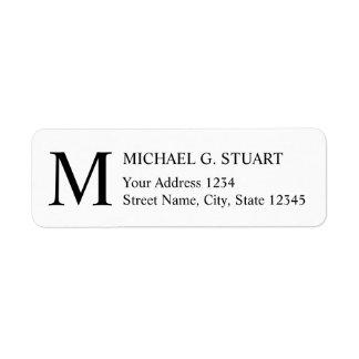 Etiqueta Monograma elegante preto e branco