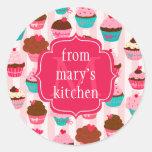 Etiqueta Monogrammed da comida dos cupcakes cor-de Adesivos