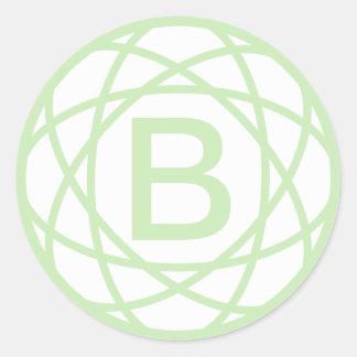 Etiqueta Monogrammed inicial feita sob encomenda Adesivo Em Formato Redondo