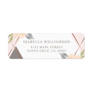 Etiqueta Na moda coram as flores cor-de-rosa da aguarela
