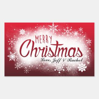 Etiqueta nevado personalizada do Natal Adesivo Retangular
