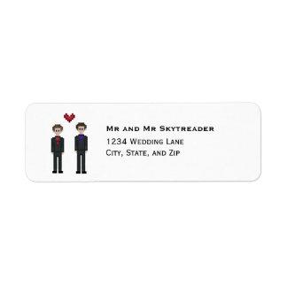 Etiqueta noivo do Gamer do pixel 8bit & casamento alegre do