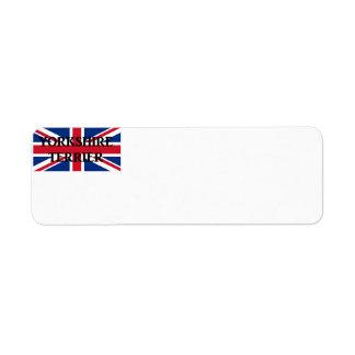 Etiqueta nome do yorkie na bandeira