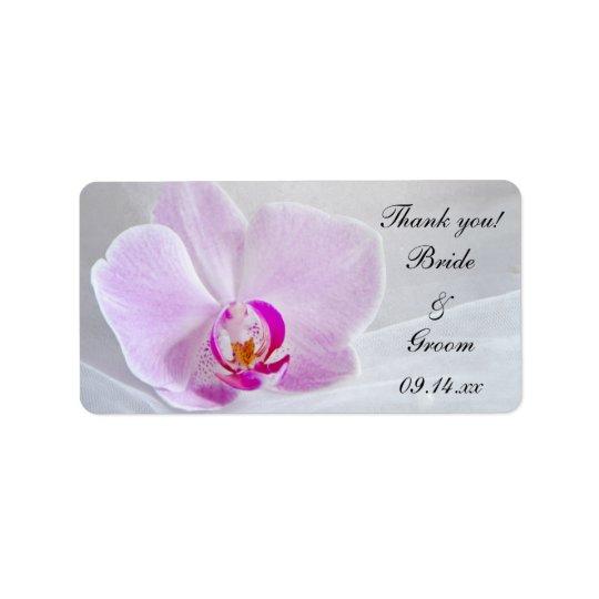 Etiqueta Obrigado cor-de-rosa da orquídea e do casamento do