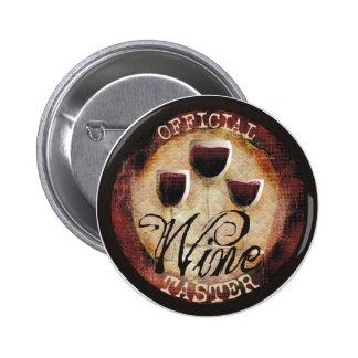 Etiqueta oficial do botão do provador do vinho botons