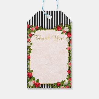 Etiqueta Para Presente 311 obrigados que florais cor-de-rosa & da listra