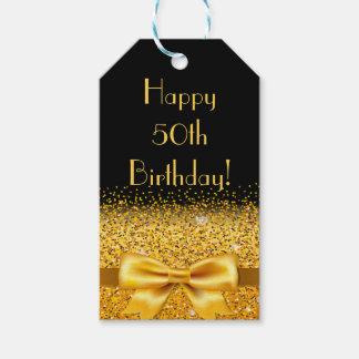 Etiqueta Para Presente 50th aniversário feliz no preto com faísca do arco