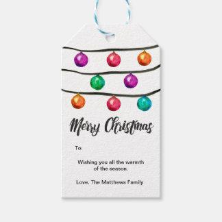 Etiqueta Para Presente Aguarela, Feliz Natal, bolas do ornamento