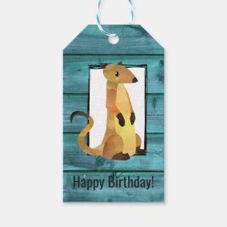 Etiqueta Para Presente Aguarela Meerkat no aniversário de madeira azul