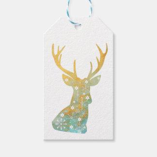 Etiqueta Para Presente Antler da rena. Flocos de neve. Inverno do Natal