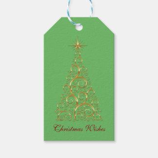 Etiqueta Para Presente Árvore de Natal festiva do ouro do Flourish