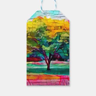 Etiqueta Para Presente Árvore do outono em cores vívidas
