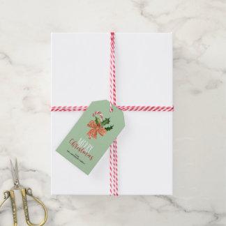 Etiqueta Para Presente Bastão de doces da aguarela do Feliz Natal