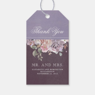 Etiqueta Para Presente Casamento floral malva do vintage da ameixa e do