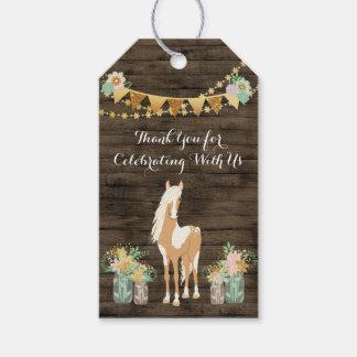 Etiqueta Para Presente Cavalo personalizado, aniversário de madeira