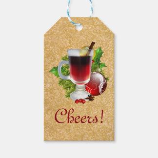 Etiqueta Para Presente Copo festivo dos elogios do Natal do vinho Mulled