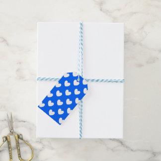 Etiqueta Para Presente Corações brancos da polca no azul